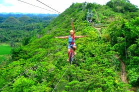 Bicycle zip-line next to Bohol's Chocolate Hills